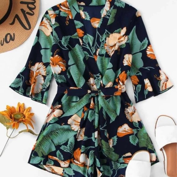 Cute Tropical-Pattern Romper NWOT
